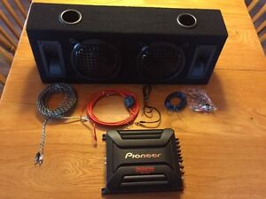 "Two 6 1/2"" subs in a box with pioneer 400W amp Stratford Kitchener Area image 1"