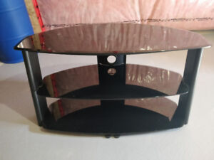 Shiny Black TV Stand with Glass Shelves