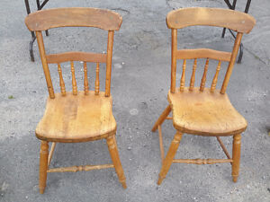 PAIR OF ANTIQUE S CHICKEN COOP  CHAIRS SOLID  CONDITION  $40.00