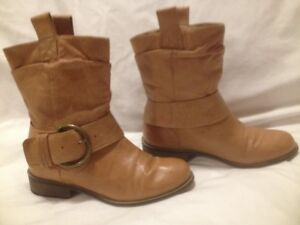 Steve Madden Tan Leather Short Moto Style Boots 6.5M