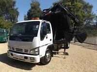 Isuzu Truck Nqr Tipper with Crane and Bucket Grab - 7.5T Manual Diesel