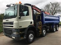 2006 06 DAF CF85.380 8x4 Thompson steel tipper Epsilon E120l crane and grab