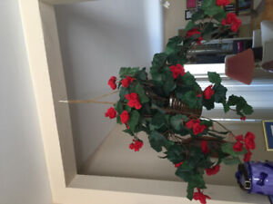 Hanging Baskets of Artificial Begonia Flowers