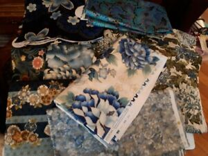 Blue quilting cotton mainly Kaufman Imperial  Oriental Japan
