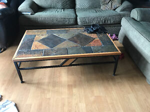 Granite marble coffee table and 2 end tables