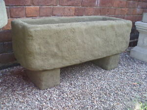 Stone Garden Planters And Troughs Stone trough planter garden patio ebay stone garden rustic old style trough with feet planter tub workwithnaturefo