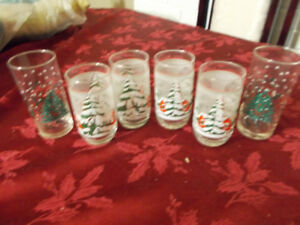 Vintage  Old Christmas drinking glasses