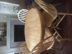 Solid Wood Table & 4 Chairs with Leaf