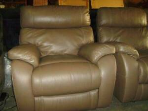 3 SEATER + 2 SINGLE ELECTRIC RECLINERS IN CAMEL 100% LEATHER Thebarton West Torrens Area Preview