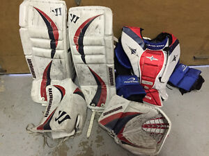 Ice goalie Warrior pads with blocker glove, junior chest protect