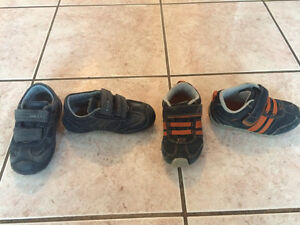 Toddler running shoes and Baby Bjorn Carrier