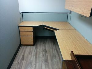 2  Modular Office Desk, drawers and cabinet set London Ontario image 2