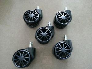 Set of 5 new office chair wheels / Ens. 5 roues pour chaise bur.