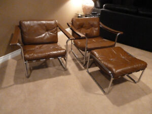 Leather and Chrome Lounge Chairs - rare and collectible !