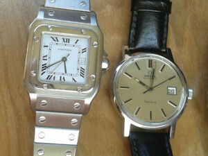 Cartier Santos and Omega Genève automatic, mint condition, 3500$