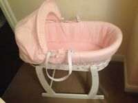 Pink wicker moses basket and stand