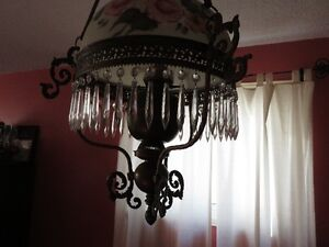 Antique Victorian Hanging English Library Light Hand Painted Kitchener / Waterloo Kitchener Area image 4