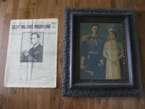 Antique framed picture and newspaper