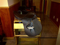"17"" A/P English saddle - new - brown with bridle, reins, irons."