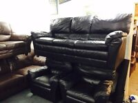 Black leather 3 11 sofa set 1 recliner chair