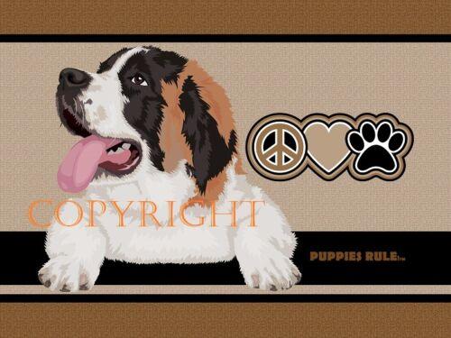 Puppies Rule St. Saint Bernard Peace Love Paws House Door Mat Doormat Floor Rug