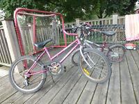 2 Pink and Purple Children's Bikes