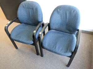 2 Blue Fabric Armchairs - Ideal for Office