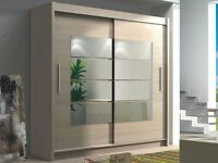 New Torrentino Sliding Door German Wardrobe 180cm Black/White/Oak - FAST FAST FAST DELIVERY!!!