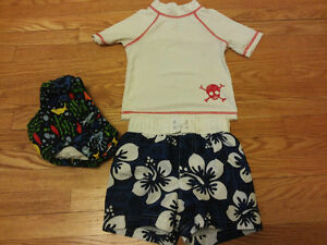 Swim Set - Swim shorts, Rash guard, Swim Diaper 12-18mths