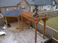 Deck roof gazebo Cedar pergola Pickering Brampton SERVE ALL GTA!