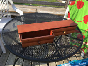 Solid Wood Wall Shelf with Drawers