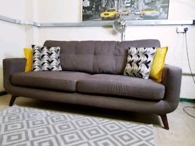 John lewis Barbican 3 seater sofa in dark grey fabric RRP £1550