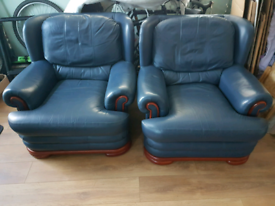 Pair of Navy Leather Chairs with Wooden Detail