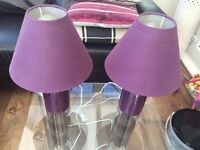 2 x Purple table lamps