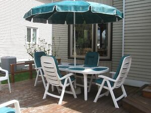 Patio Furniture Set (Table, Umbrella and 10 chairs)