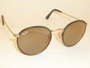 4f81859372f9 RAY BAN Round Metal Matte Gold Frame Brown Leather RB 3475Q 112 53 Brown  Lenses
