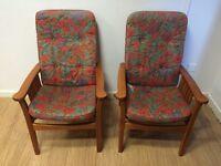West German vintage teak arm chairs