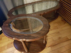 Wood Coffee Table and End Tables with Glass Oval Inserts