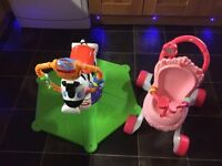 Fisher Price Bounce And Spin Zebra Plus Fisher Price Princess Mummy Stroll Along Musical Walker