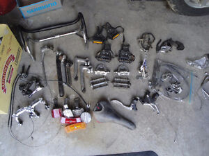 Tons of 80s/90s steel-frame road bike parts