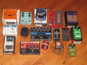 Pédale pour guitare...Tremolo, Overdrive, Delay, Distortion etc