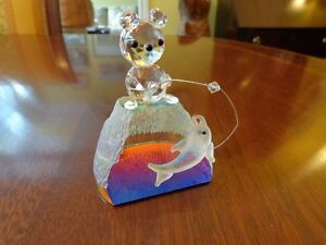 Beautiful Crystal Bear with Fishing Rod - Ours de crystal