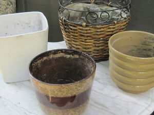 Assorted Vintage & New Flower Pots, Urns & Decor
