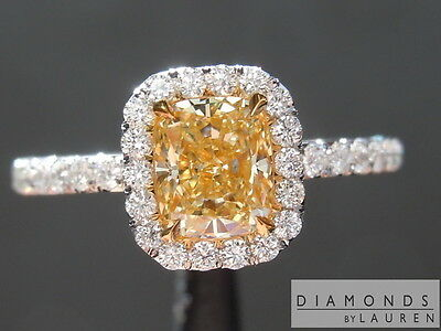 .76ct Fancy Yellow VVS2 Cushion Cut Diamond Ring GIA R6230 Diamonds by Lauren