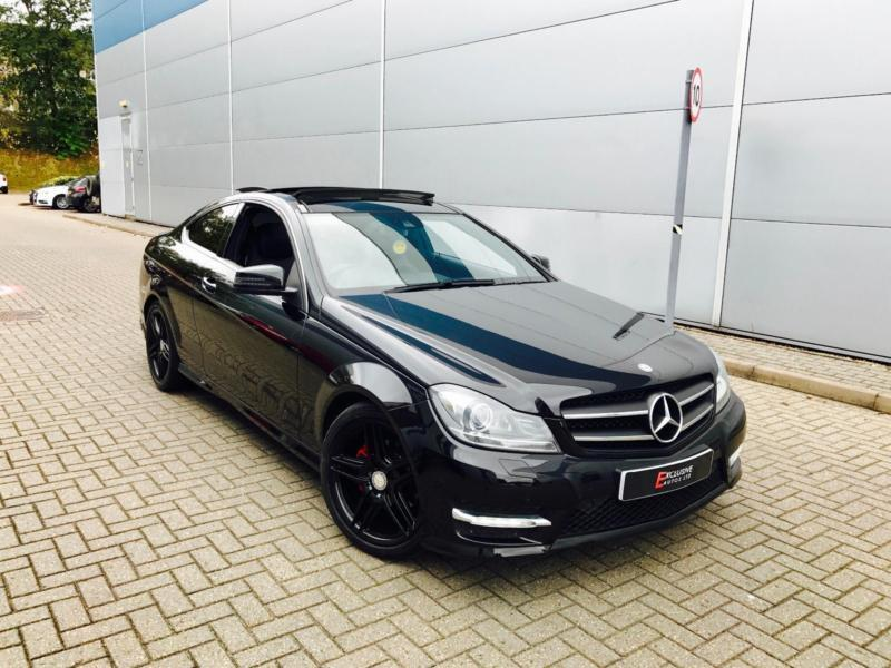 2013 63 reg mercedes benz c220 cdi amg sport coupe black pan roof all black in watford. Black Bedroom Furniture Sets. Home Design Ideas