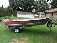 14 Ft  DEEP, WIDE Aluminum boat with trailer