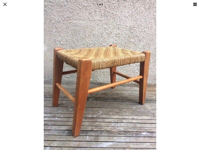 Vintage Mid Century Rattan Wicker Woven Stool Wooden Frame