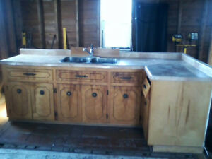 Upper and Lower Cabinets with Top ,Double Sinks & Taps