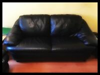 2 x lovely black 'leather' sofa 's / settee 's - OFFERS