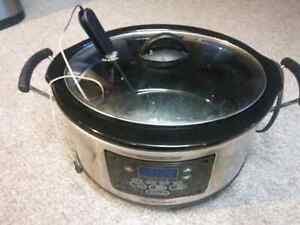 Slow cooker with meat thermometer built in.